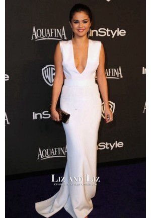 Selena Gomez White V-neck Prom Dress Golden Globes 2015 Red Carpet