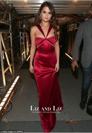 Selena Gomez Red Halter Cut-out Satin Prom Dress Grammys 2016