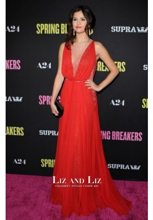Selena Gomez Red Sequined Celebrity Dresses Spring Breakers LA Premiere