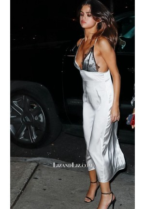 Selena Gomez Inspired Silver Lace Satin Cocktail Party Celebrity Prom Dress