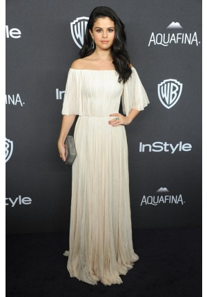 Selena Gomez White Off-the-shoulder Red Carpet Dress Golden Globes Party 2016
