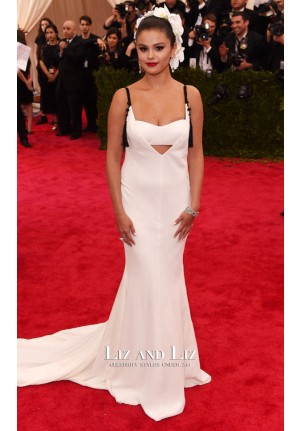 Selena Gomez White Celebrity Prom Dresses 2015 Met Gala Red Carpet