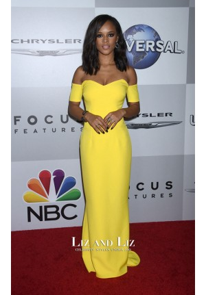 Serayah Yellow Off-the-shoulder Red Carpet Dresses Golden Globes 2016 Party