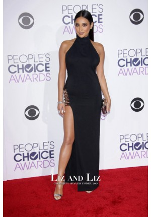 Shay Mitchell Black Halter High Slit Dress People's Choice Awards 2016