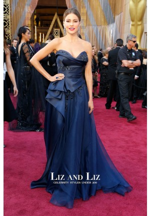 Sofia Vergara Navy Strapless Ball Gown Dress Oscars 2016 Red Carpet