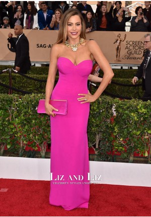 Sofia Vergara Pink Strapless Prom SAG Awards 2016 Red Carpet Dresses