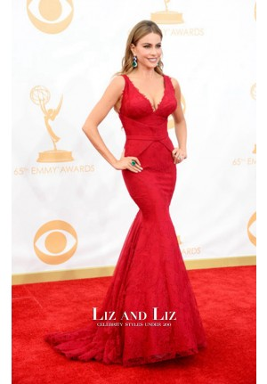 Sofia Vergara Red Lace V-neck Mermaid Red Carpet Dress Emmy Awards 2013