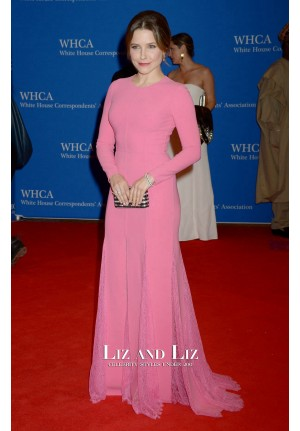 Sophia Bush Pink Long-sleeve Dress White House Correspondents Dinner 2016