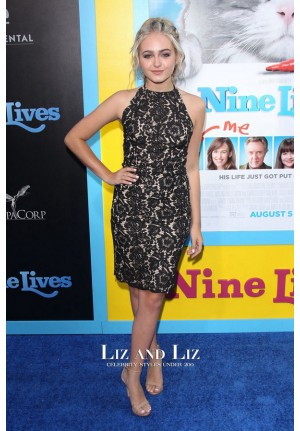 Sophie Reynolds Black Lace Cocktail Party Dress 'Nine Lives' Premiere