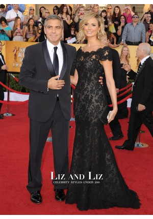 Stacy Keibler Black Lace Mermaid Prom Red Carpet Dress SAG Awards 2012