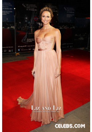 Stacy Keibler Champagne Strapless Red Carpet Dress London Film Festival