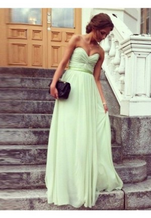 Mint Green Strapless Sweetheart Bridesmaid Celebrity Dress Evening Prom Gown