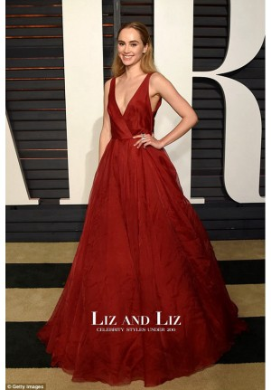 Suki Waterhouse Red V-neck Prom Vanity Fair Party 2015 Red Carpet Dress