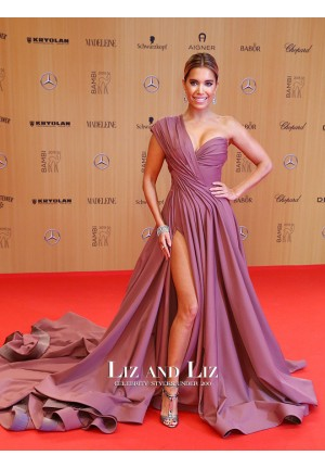 Sylvie Meis Lilac One Shoulder Celebrity Prom Dress Bambi Awards 2015