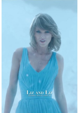 Taylor Swift Blue V-neck Chiffon Cocktail Celebrity Dress Out Of The Woods