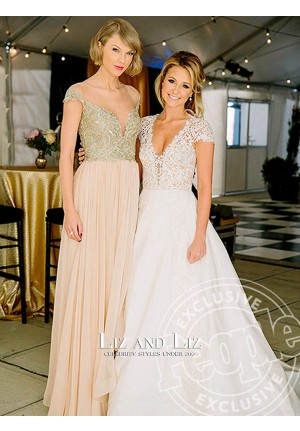 Taylor Swift Blush Pink Cap-sleeve Celebrity Bridesmaid Dress Prom Gown