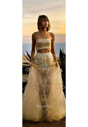 Taylor Swift Gold Sequin Two-piece Prom Dress Vogue Photoshoot 2015