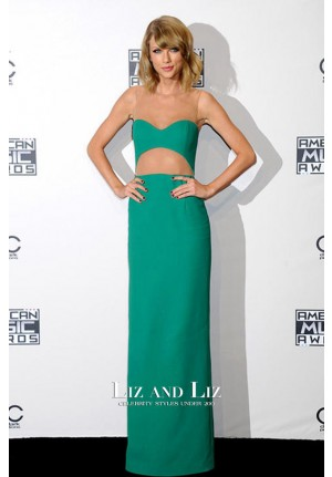 Taylor Swift Green Cut-out Red Carpet Dress American Music Awards 2014