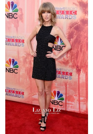 Taylor Swift Black Sequin Cut-out Dress iHeartRadio Music Awards 2015