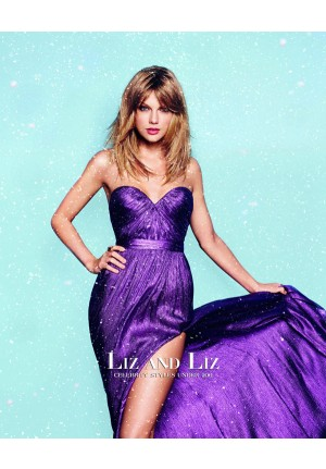 Taylor Swift Purple Strapless Prom Gown Celebrity Dress Cosmopolitan UK 2014