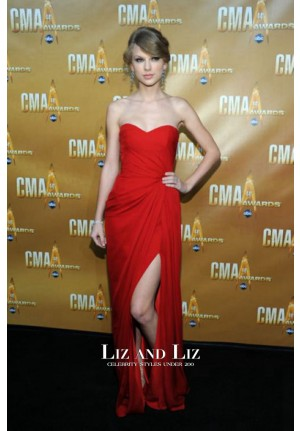 Taylor Swift Red Strapless Chiffon Celebrity Dress CMA Awards 2010 Red Carpet