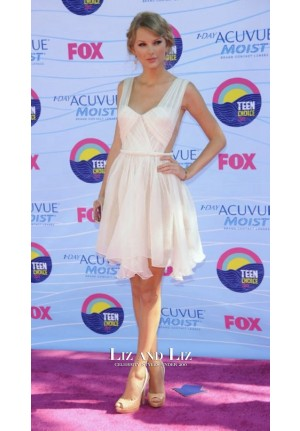 Taylor Swift Short Pink Cocktail Party Celebrity Dress Teen Choice Awards 2012