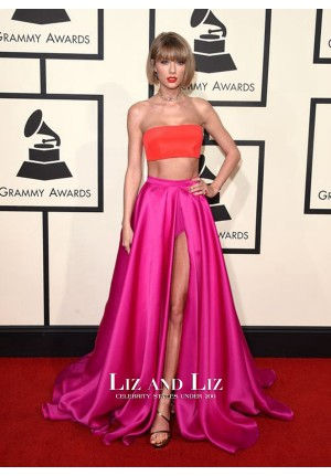 Taylor Swift Two-piece Celebrity Prom Dress Grammys 2016 Red Carpet