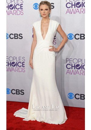 Taylor Swift White Plunging Chiffon Red Carpet Dress 2013 People's Choice Awards