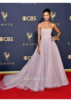 Thandie Newton Pink Strapless Ball Gown Prom Dress Emmy Awards 2017