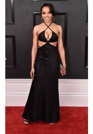 Tinashe Black Cut-out Satin Dress Grammy Awards 2017 Red Carpet