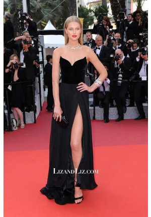 Toni Garrn Black Strapless Formal Celebrity Dress Cannes Film Festival 2016