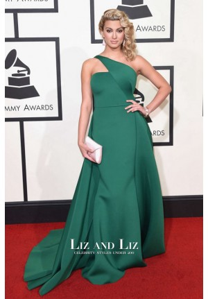 Tori Kelly Green One-shoulder Satin Red Carpet Dress Grammys 2016