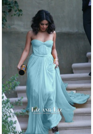 Vanessa Hudgens Light Sky Blue Strapless Evening Prom Celebrity Dress