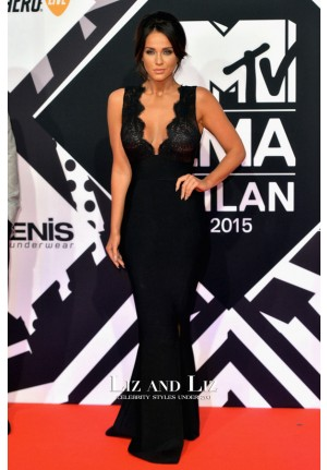 Vicky Pattison Black V-neck Celebrity Prom Dress MTV EMAs 2015 Red Carpet