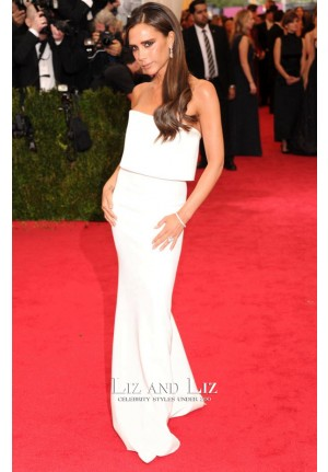 Victoria Beckham White Strapless Column Dress Met Gala 2014 Red Carpet