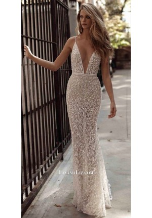 White Sparkly Spaghetti Straps Plunging V-neck Formal Celebrity Prom Dress