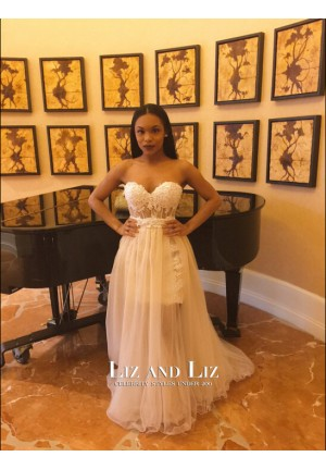 White Strapless Lace Tulle Celebrity Dress Formal Evening Prom Gown 2016