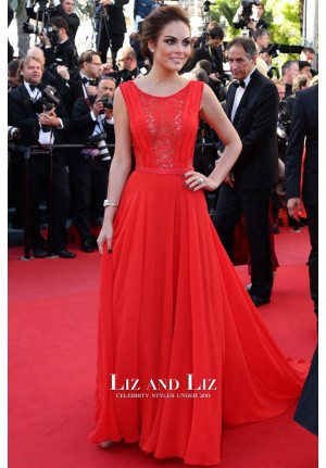 Ximena Navarrete Red Lace Chiffon Evening Prom Cannes 2013 Red Carpet Dress