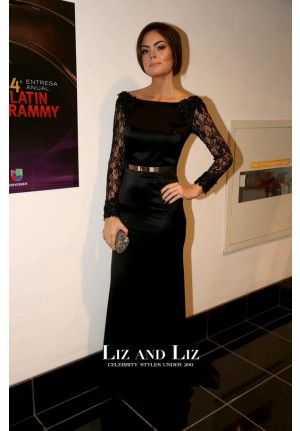 Ximena Navarrete Black Lace Satin Celebrity Dress Latin Grammys 2013