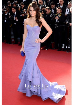 Ximena Navarrete Lavender Strapless Mermaid Prom Dress Cannes 2013