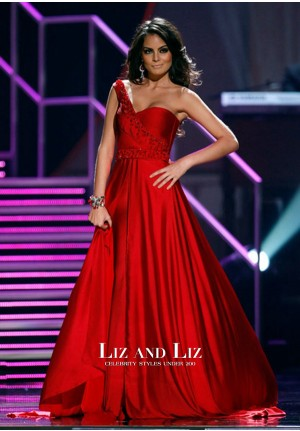 Ximena Navarrete Red One-shoulder Prom Dress Miss Universe Pageant 2010