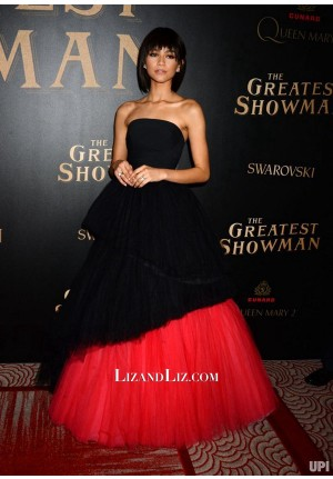 Zendaya Black and Red Strapless Tulle Dress 'The Greatest Showman' Premiere