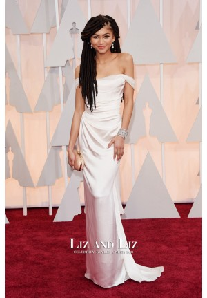 Zendaya White Off-the-shoulder Satin Prom Oscars 2015 Red Carpet Dress