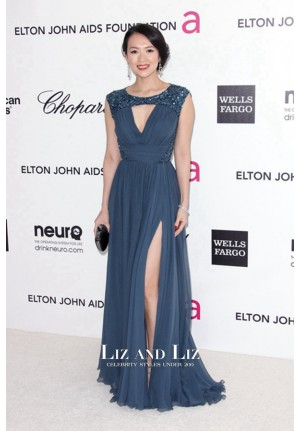 Zhang Ziyi Navy Blue Sequin Chiffon Celebrity Dress Oscar Party 2012 Red Carpet