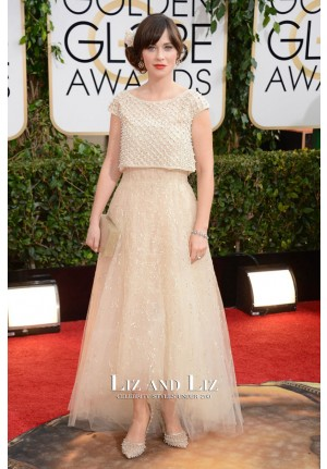 Zooey Deschanel Inspired Prom Dress Golden Globes 2014 Red Carpet