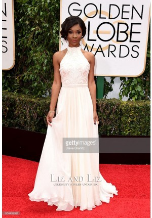 Zuri Hall White Chiffon Prom Gown Golden Globes 2016 Red Carpet Dress