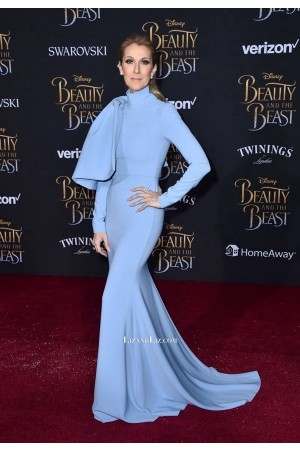 Celine Dion Blue High Neck Long-sleeve Formal Dress 'Beauty & the Beast' Premiere