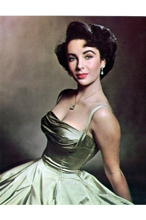 Elizabeth Taylor Mint Green Satin Vintage Celebrity Dress Life Magazine
