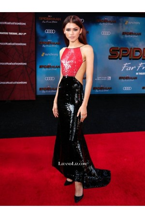 Zendaya Black and Red Backless Sequin Celebrity Dress Spider-Man Premiere