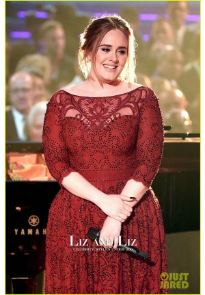 Adele Red Sequined Celebrity Prom Dress Grammys 2016 Performance